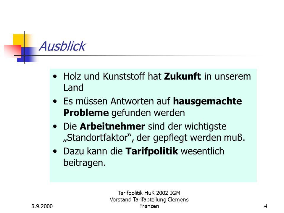 8.9.2000 Tarifpolitik HuK 2002 IGM Vorstand Tarifabteilung Clemens Franzen4 Holz und Kunststoff hat Zukunft in unserem Land Es müssen Antworten auf ha