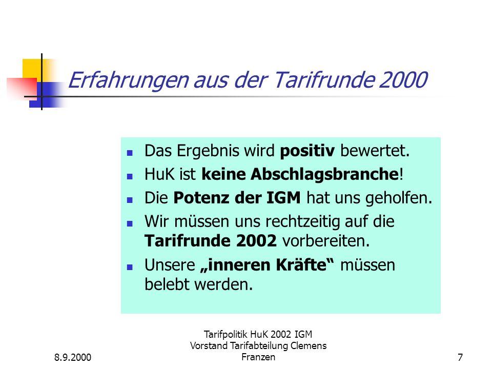 8.9.2000 Tarifpolitik HuK 2002 IGM Vorstand Tarifabteilung Clemens Franzen7 Erfahrungen aus der Tarifrunde 2000 Das Ergebnis wird positiv bewertet.