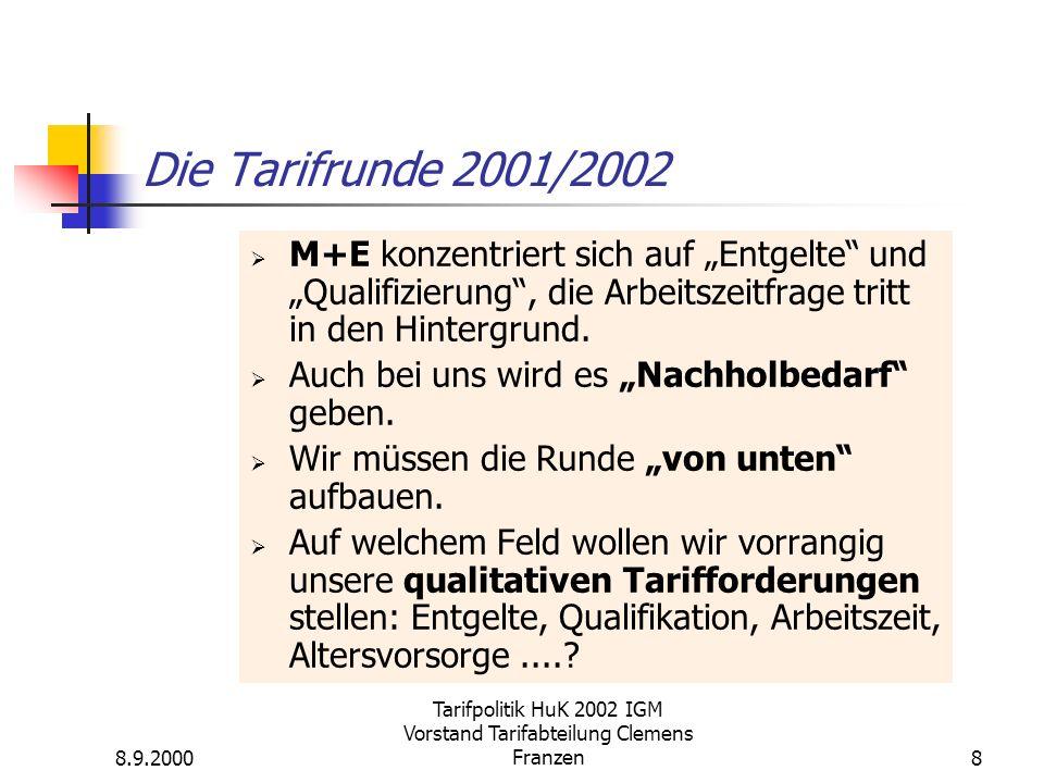 8.9.2000 Tarifpolitik HuK 2002 IGM Vorstand Tarifabteilung Clemens Franzen8 Die Tarifrunde 2001/2002 M+E konzentriert sich auf Entgelte und Qualifizierung, die Arbeitszeitfrage tritt in den Hintergrund.