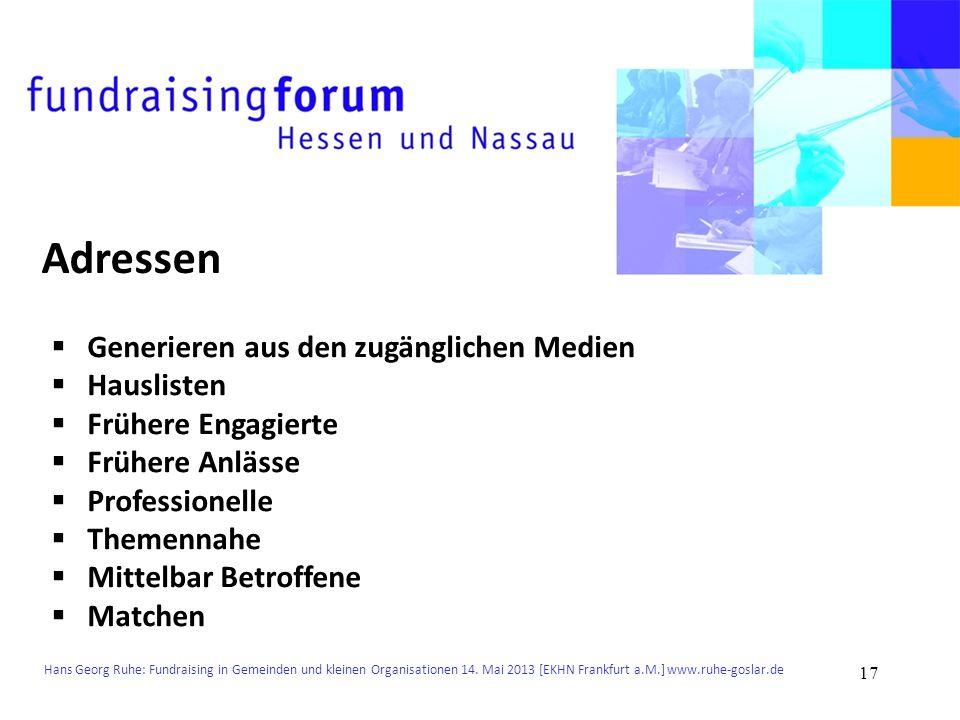 Hans Georg Ruhe: Fundraising in Gemeinden und kleinen Organisationen 14. Mai 2013 [EKHN Frankfurt a.M.] www.ruhe-goslar.de Adressen Generieren aus den