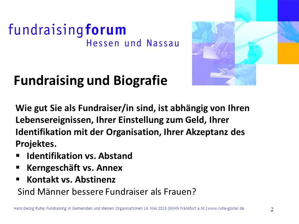 Hans Georg Ruhe: Fundraising in Gemeinden und kleinen Organisationen 14. Mai 2013 [EKHN Frankfurt a.M.] www.ruhe-goslar.de Fundraising und Biografie W