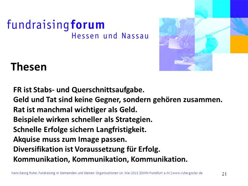 Hans Georg Ruhe: Fundraising in Gemeinden und kleinen Organisationen 14. Mai 2013 [EKHN Frankfurt a.M.] www.ruhe-goslar.de Thesen FR ist Stabs- und Qu