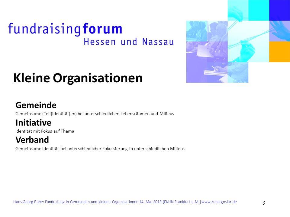 Hans Georg Ruhe: Fundraising in Gemeinden und kleinen Organisationen 14. Mai 2013 [EKHN Frankfurt a.M.] www.ruhe-goslar.de Kleine Organisationen Gemei