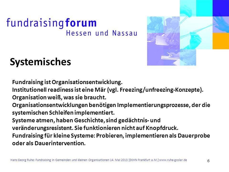 Hans Georg Ruhe: Fundraising in Gemeinden und kleinen Organisationen 14. Mai 2013 [EKHN Frankfurt a.M.] www.ruhe-goslar.de Systemisches Fundraising is