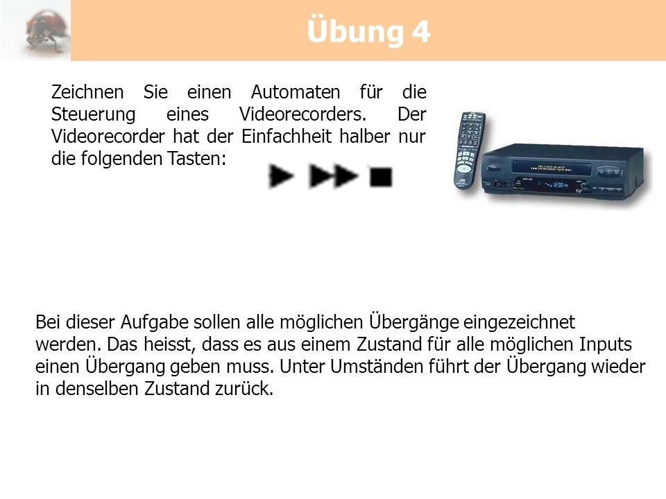Übung 4 Zeichnen Sie einen Automaten für die Steuerung eines Videorecorders. Der Videorecorder hat der Einfachheit halber nur die folgenden Tasten: Be