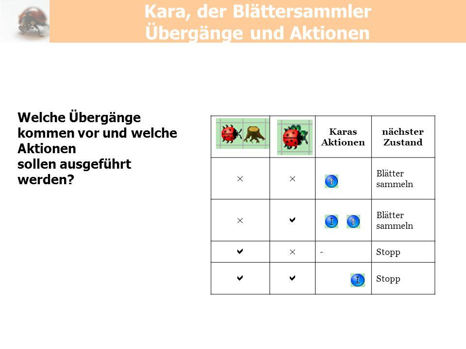Kara, der Blättersammler Übergänge und Aktionen Welche Übergänge kommen vor und welche Aktionen sollen ausgeführt werden? Karas Aktionen nächster Zust
