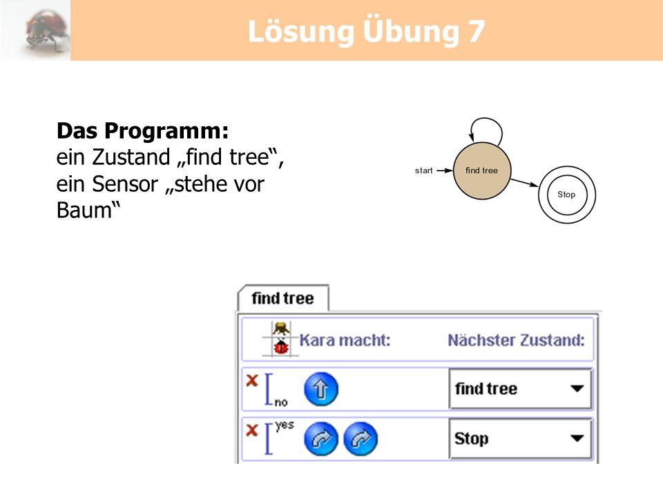 Lösung Übung 7 Das Programm: ein Zustand find tree, ein Sensor stehe vor Baum