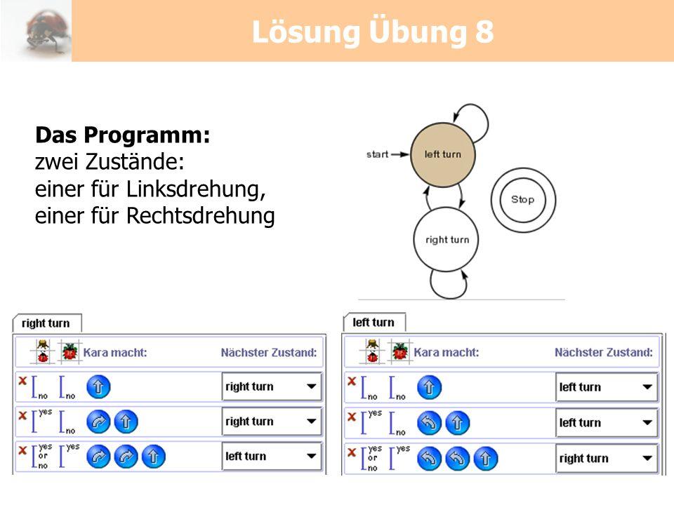 Lösung Übung 8 Das Programm: zwei Zustände: einer für Linksdrehung, einer für Rechtsdrehung