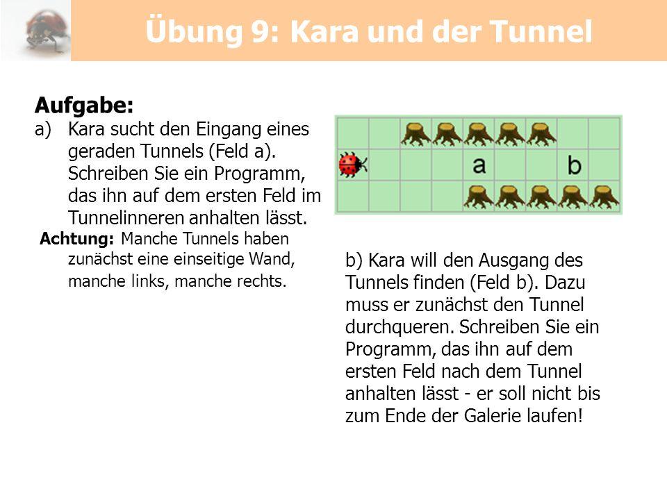 Aufgabe: a)Kara sucht den Eingang eines geraden Tunnels (Feld a). Schreiben Sie ein Programm, das ihn auf dem ersten Feld im Tunnelinneren anhalten lä