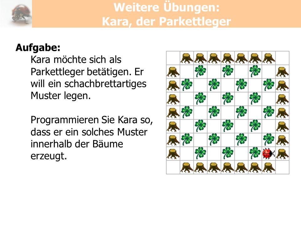 Weitere Übungen: Kara, der Parkettleger Aufgabe: Kara möchte sich als Parkettleger betätigen. Er will ein schachbrettartiges Muster legen. Programmier