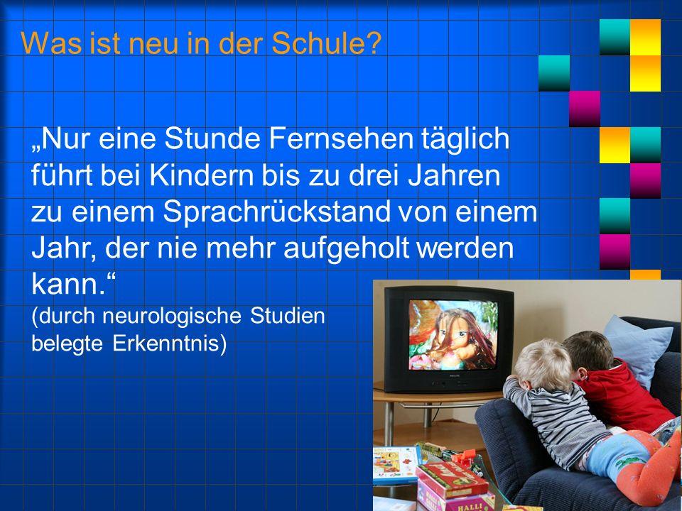 Was ist neu in der Schule? Nur eine Stunde Fernsehen täglich führt bei Kindern bis zu drei Jahren zu einem Sprachrückstand von einem Jahr, der nie meh