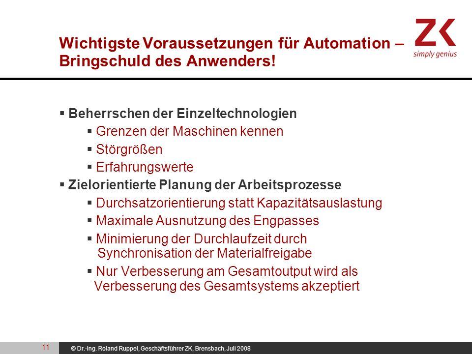 © Dr.-Ing. Roland Ruppel, Geschäftsführer ZK, Brensbach, Juli 2008 Wichtigste Voraussetzungen für Automation – Bringschuld des Anwenders! Beherrschen