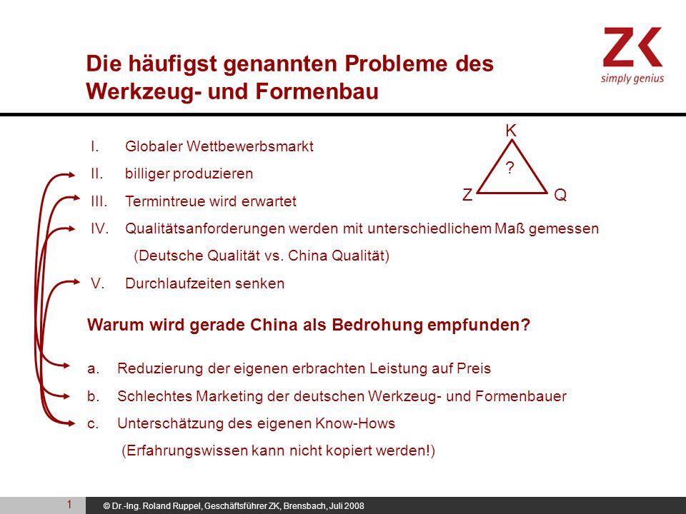 © Dr.-Ing. Roland Ruppel, Geschäftsführer ZK, Brensbach, Juli 2008 I. Globaler Wettbewerbsmarkt II. billiger produzieren III. Termintreue wird erwarte