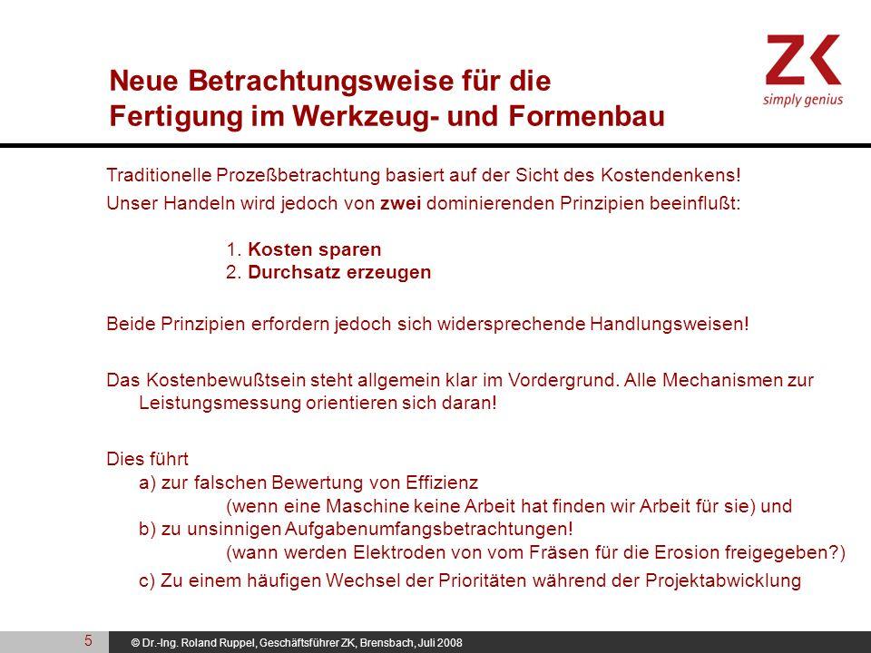 © Dr.-Ing. Roland Ruppel, Geschäftsführer ZK, Brensbach, Juli 2008 Traditionelle Prozeßbetrachtung basiert auf der Sicht des Kostendenkens! Unser Hand