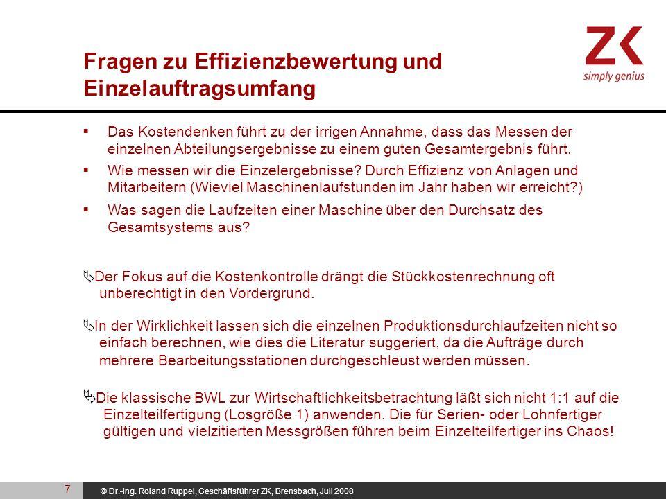 © Dr.-Ing. Roland Ruppel, Geschäftsführer ZK, Brensbach, Juli 2008 Das Kostendenken führt zu der irrigen Annahme, dass das Messen der einzelnen Abteil