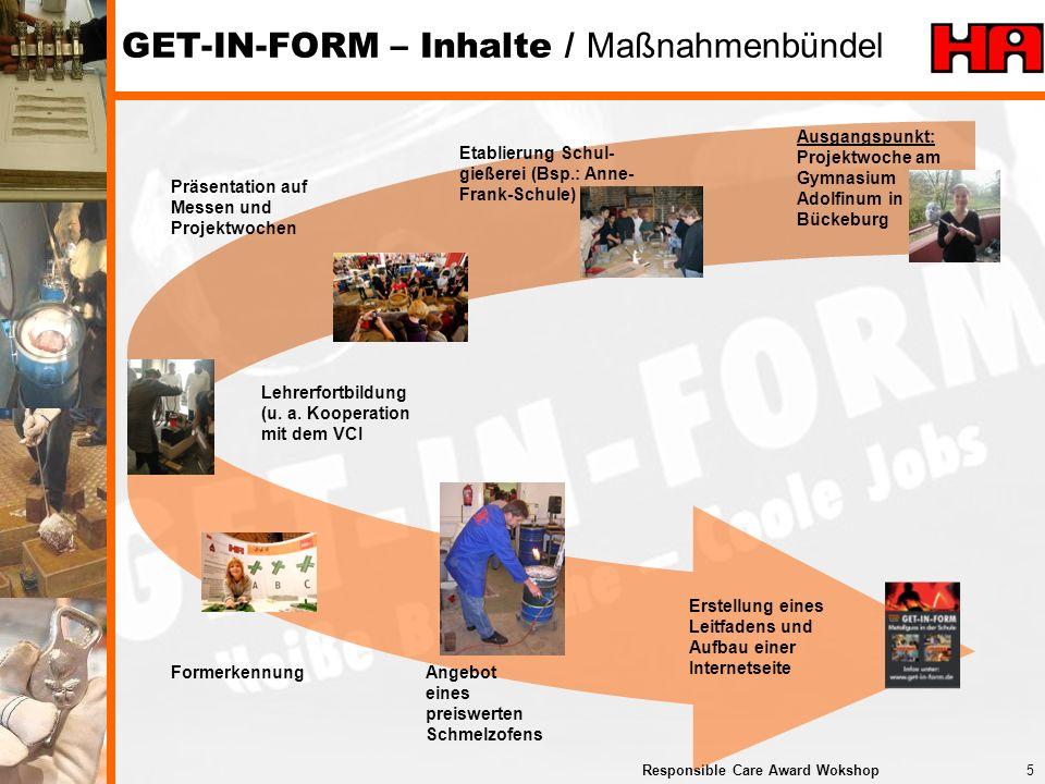 6Responsible Care Award Wokshop Leitfaden Schulgießerei www.get-in-form.de Inhalte www.get-in-form.de: Wie funktioniert Gießen.