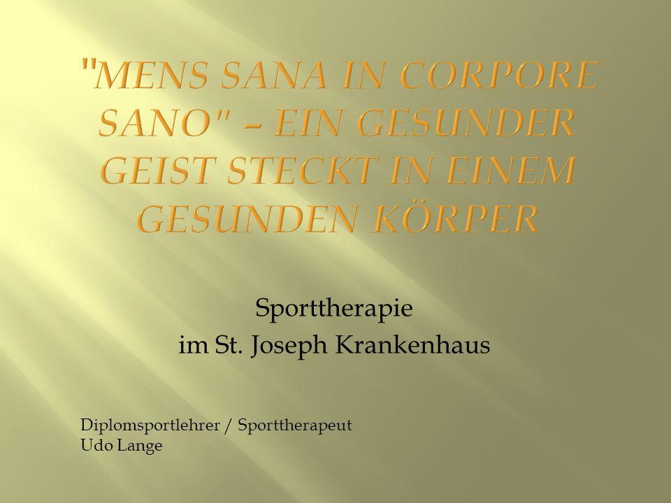 Sporttherapie und Gesundheitssport Was ist Sporttherapie.