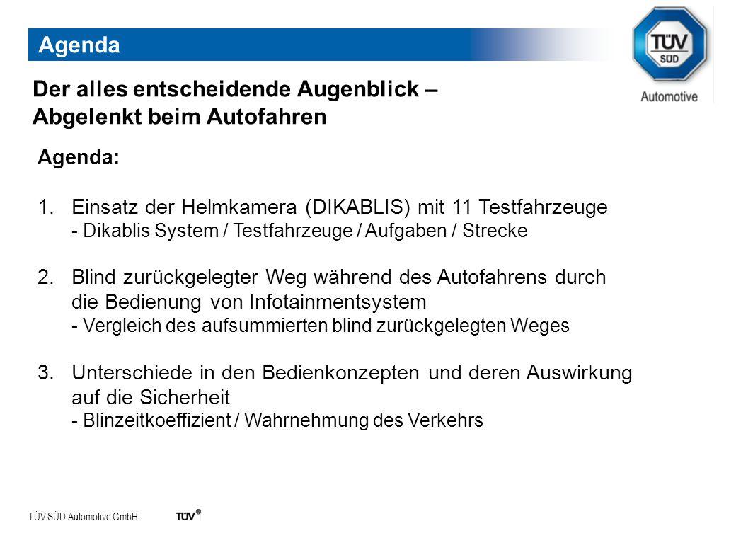 TÜV SÜD Automotive GmbH Agenda: 1.Einsatz der Helmkamera (DIKABLIS) mit 11 Testfahrzeuge - Dikablis System / Testfahrzeuge / Aufgaben / Strecke 2.Blin