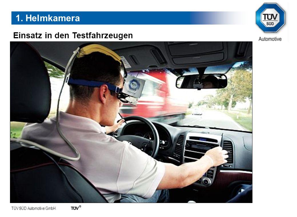 TÜV SÜD Automotive GmbH Einsatz in den Testfahrzeugen 1. Helmkamera