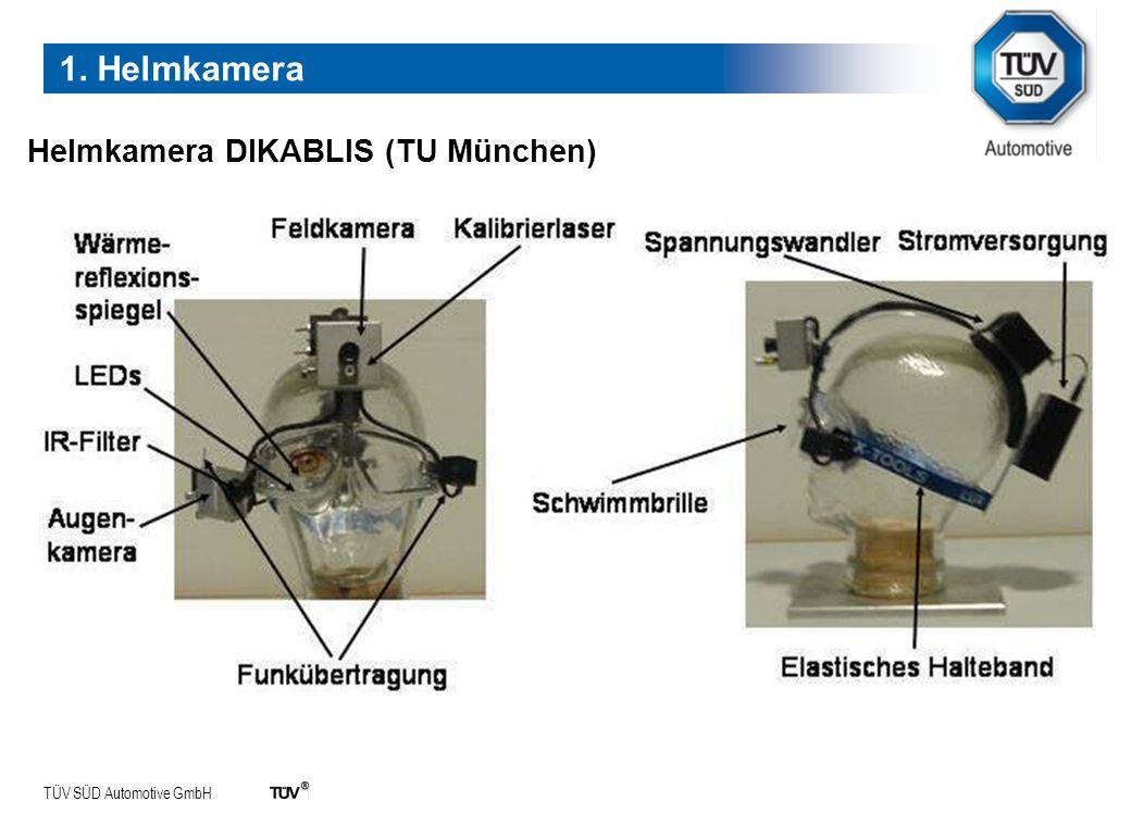 TÜV SÜD Automotive GmbH Online Auswertung im Begleitfahrzeug 1. Helmkamera
