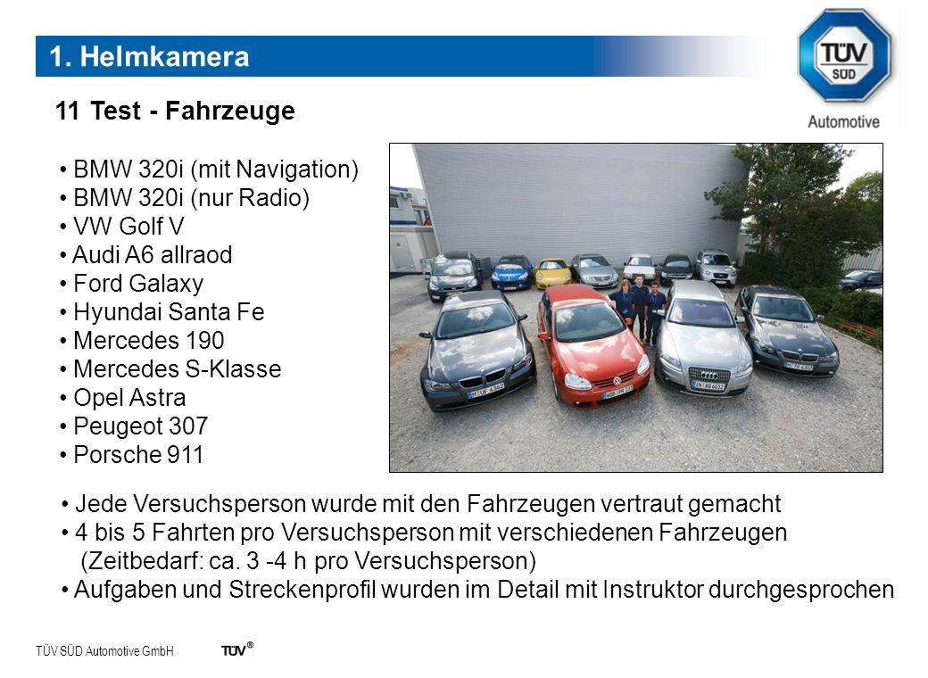 TÜV SÜD Automotive GmbH 11 Test - Fahrzeuge BMW 320i (mit Navigation) BMW 320i (nur Radio) VW Golf V Audi A6 allraod Ford Galaxy Hyundai Santa Fe Merc
