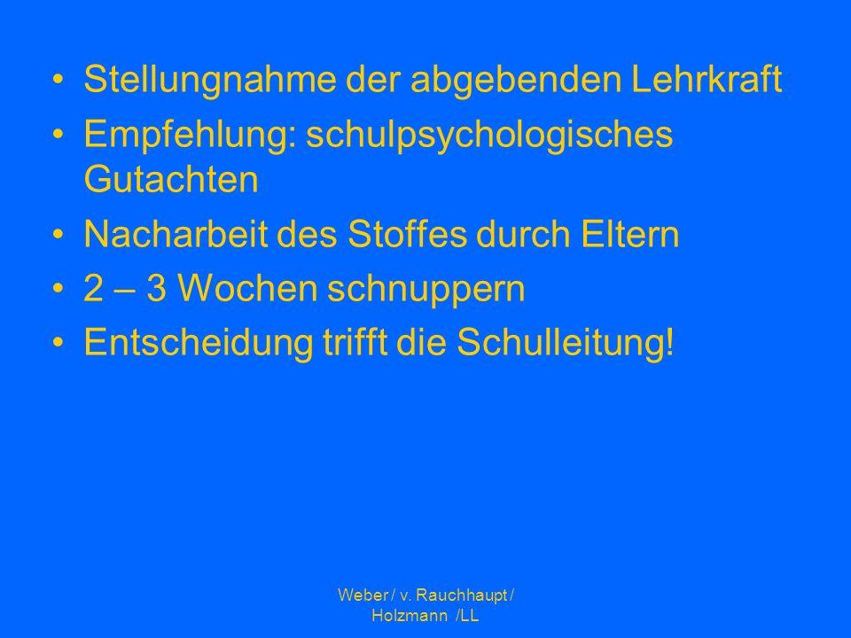 Weber / v. Rauchhaupt / Holzmann /LL Stellungnahme der abgebenden Lehrkraft Empfehlung: schulpsychologisches Gutachten Nacharbeit des Stoffes durch El