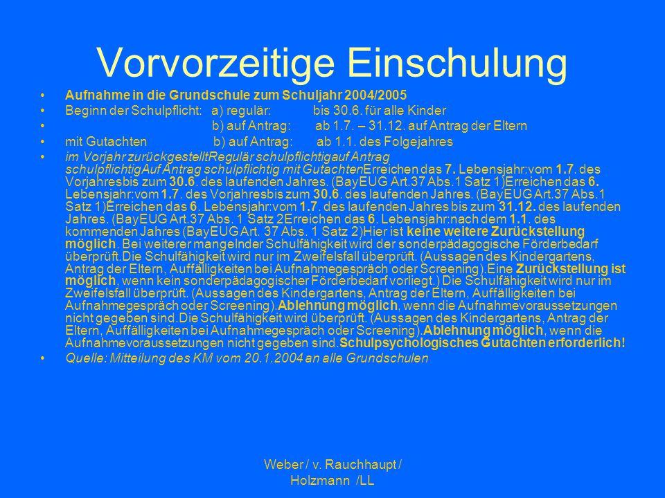 Weber / v. Rauchhaupt / Holzmann /LL Vorvorzeitige Einschulung Aufnahme in die Grundschule zum Schuljahr 2004/2005 Beginn der Schulpflicht: a) regulär