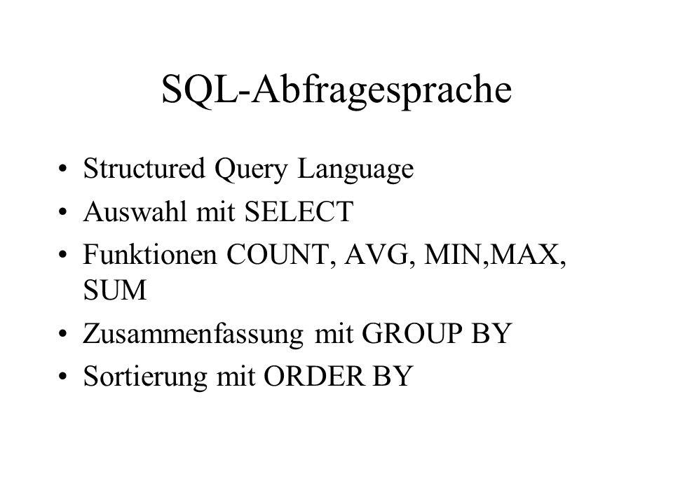 SQL-Abfragesprache Structured Query Language Auswahl mit SELECT Funktionen COUNT, AVG, MIN,MAX, SUM Zusammenfassung mit GROUP BY Sortierung mit ORDER