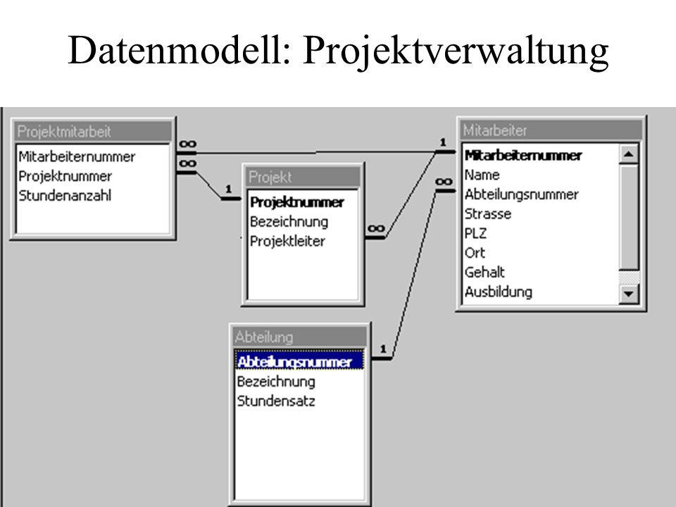 Datenmodell: Projektverwaltung