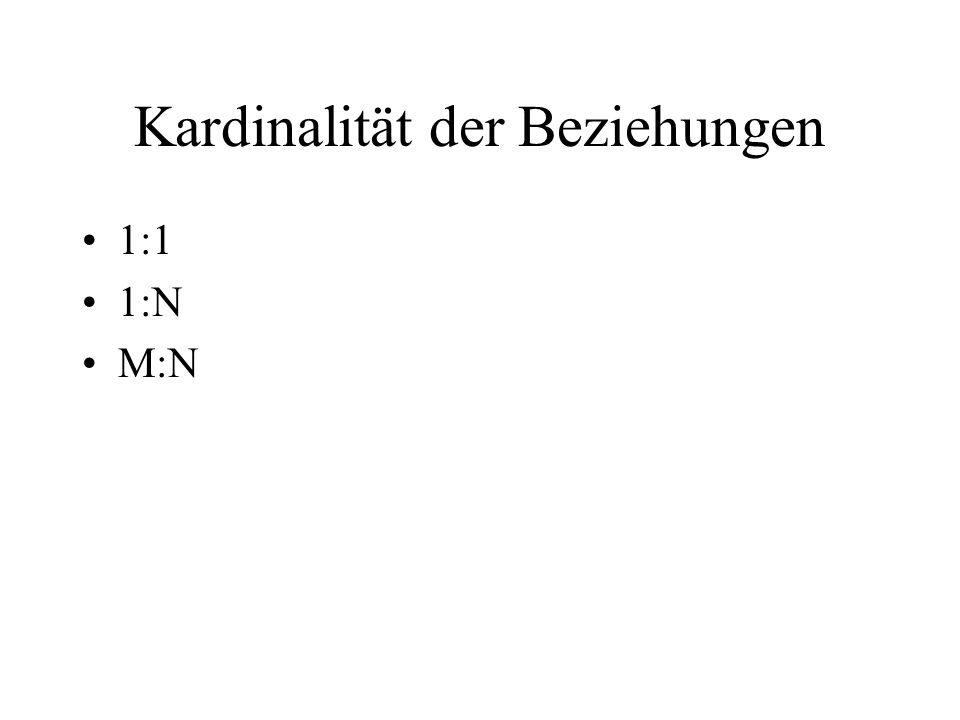 Krähenfußnotation 1 ist senkrechter Strich N ist Krähenfuß