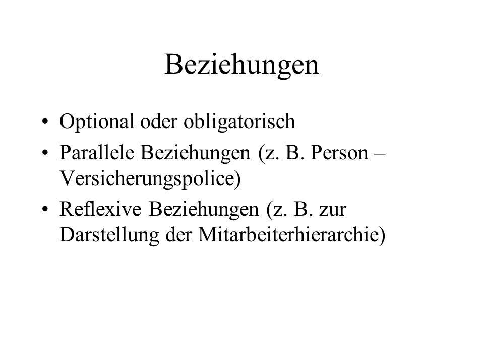 Beziehungen Optional oder obligatorisch Parallele Beziehungen (z. B. Person – Versicherungspolice) Reflexive Beziehungen (z. B. zur Darstellung der Mi