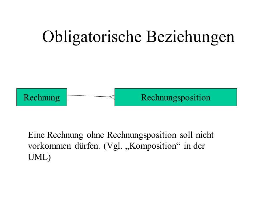Obligatorische Beziehungen RechnungRechnungsposition Eine Rechnung ohne Rechnungsposition soll nicht vorkommen dürfen. (Vgl. Komposition in der UML)