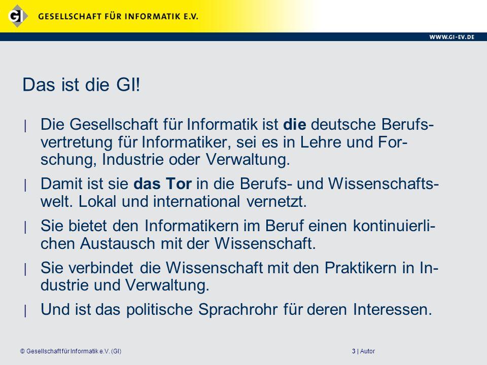 3 | Autor© Gesellschaft für Informatik e.V. (GI) Das ist die GI! Die Gesellschaft für Informatik ist die deutsche Berufs- vertretung für Informatiker,
