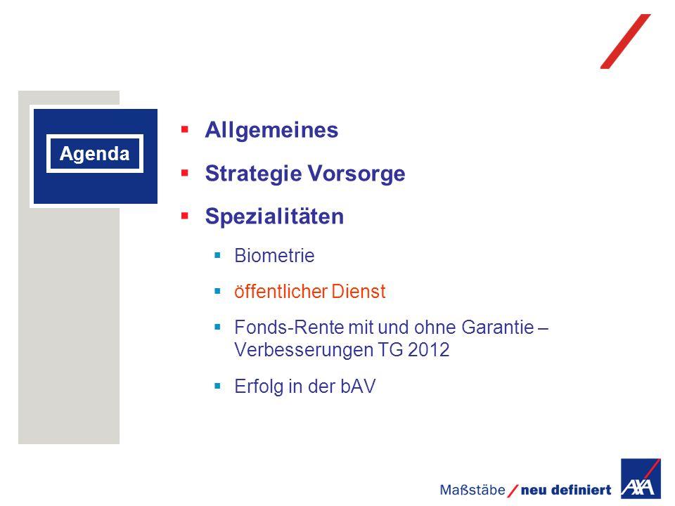 Agenda Allgemeines Strategie Vorsorge Spezialitäten Biometrie öffentlicher Dienst Fonds-Rente mit und ohne Garantie – Verbesserungen TG 2012 Erfolg in