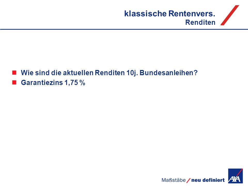 klassische Rentenvers. Renditen Wie sind die aktuellen Renditen 10j. Bundesanleihen? Garantiezins 1,75 %