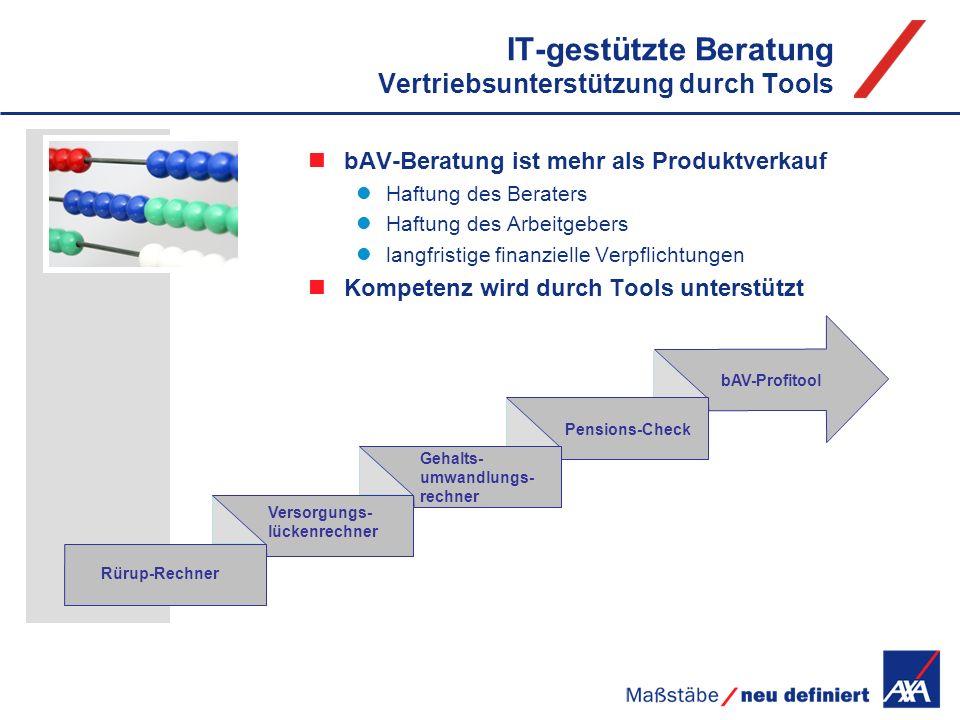 IT-gestützte Beratung Vertriebsunterstützung durch Tools Gehalts- umwandlungs- rechner Versorgungs- lückenrechner bAV-Profitool Rürup-Rechner Pensions