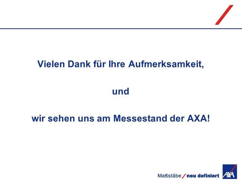 Vielen Dank für Ihre Aufmerksamkeit, und wir sehen uns am Messestand der AXA!