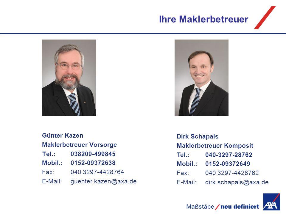 Ihre Maklerbetreuer Günter Kazen Maklerbetreuer Vorsorge Tel.: 038209-499845 Mobil.:0152-09372638 Fax:040 3297-4428764 E-Mail:guenter.kazen@axa.de Dir