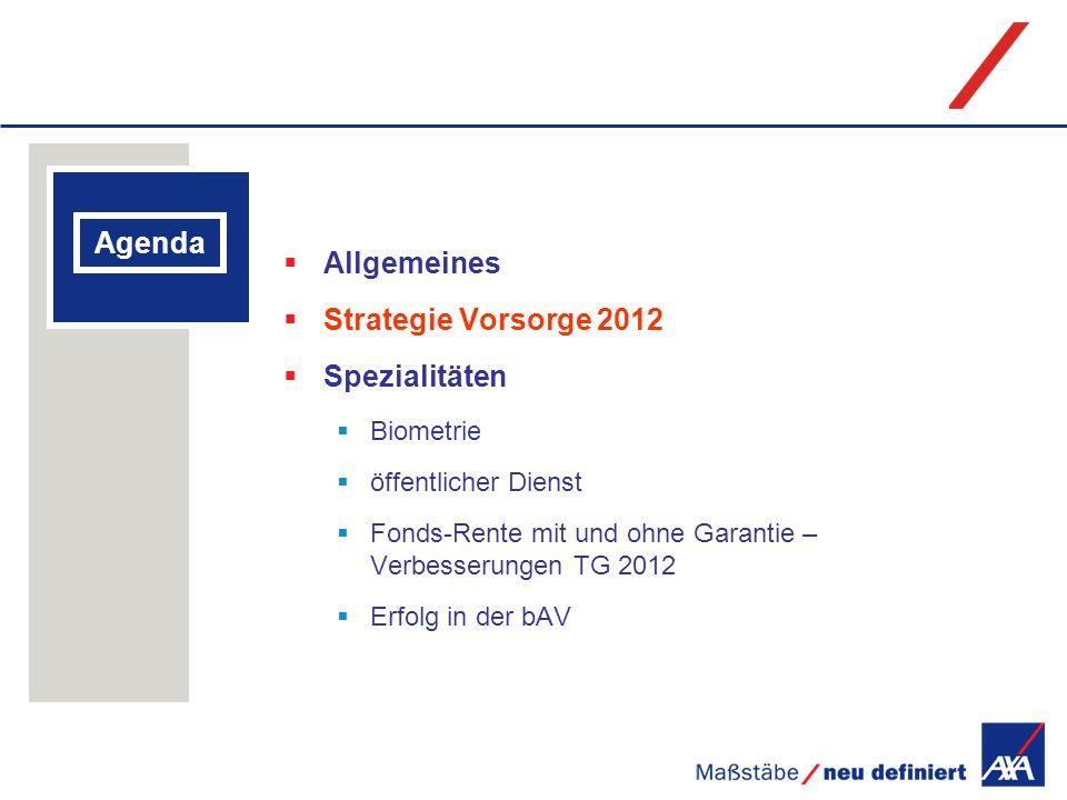Agenda Allgemeines Strategie Vorsorge 2012 Spezialitäten Biometrie öffentlicher Dienst Fonds-Rente mit und ohne Garantie – Verbesserungen TG 2012 Erfo