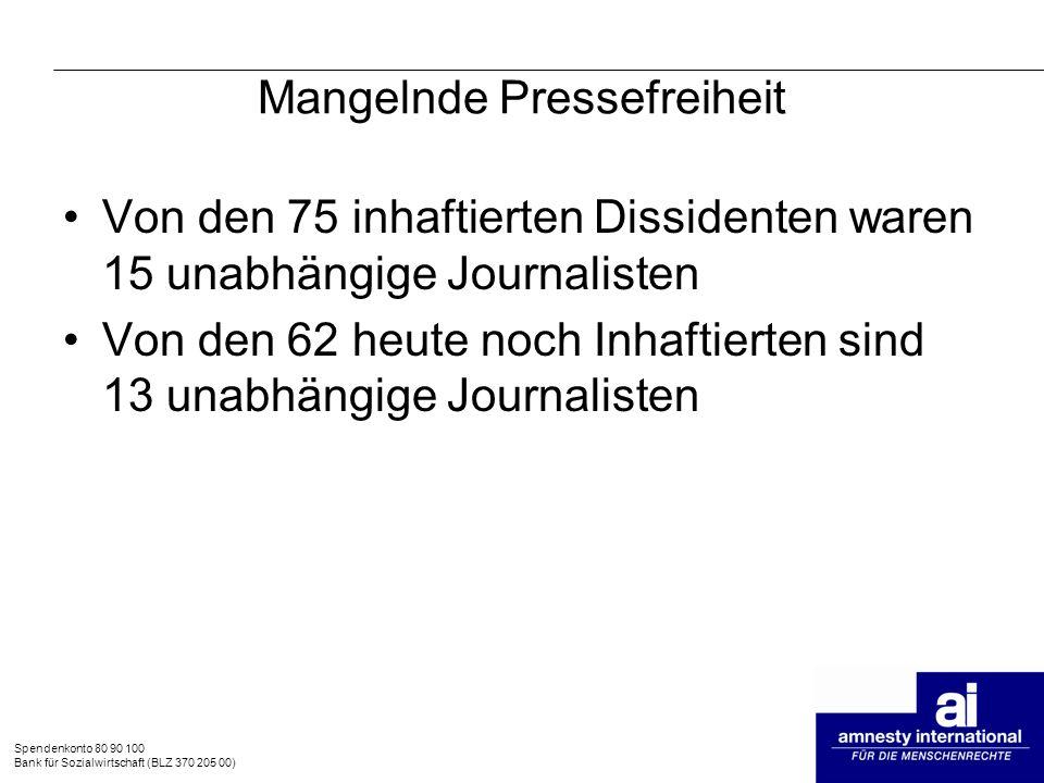 Spendenkonto 80 90 100 Bank für Sozialwirtschaft (BLZ 370 205 00) Mangelnde Pressefreiheit Von den 75 inhaftierten Dissidenten waren 15 unabhängige Jo