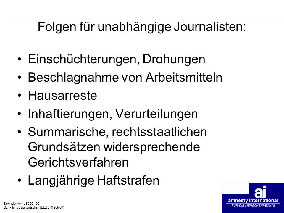 Spendenkonto 80 90 100 Bank für Sozialwirtschaft (BLZ 370 205 00) Folgen für unabhängige Journalisten: Einschüchterungen, Drohungen Beschlagnahme von