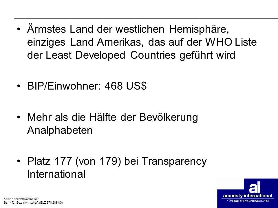 Spendenkonto 80 90 100 Bank für Sozialwirtschaft (BLZ 370 205 00) Ärmstes Land der westlichen Hemisphäre, einziges Land Amerikas, das auf der WHO List