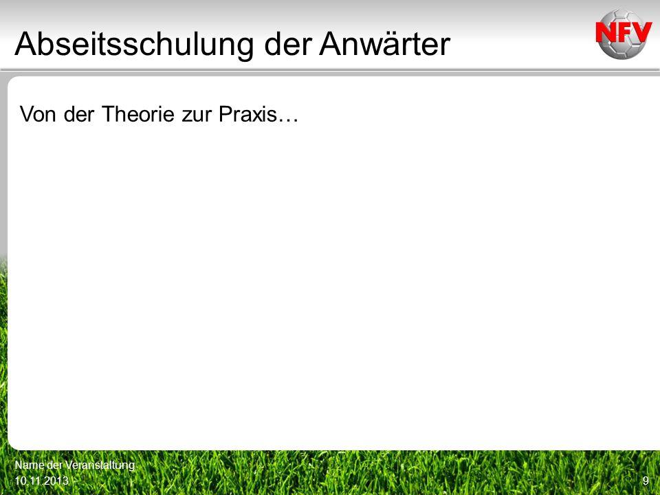 Abseitsschulung der Anwärter Von der Theorie zur Praxis… 10.11.2013 Name der Veranstaltung 9