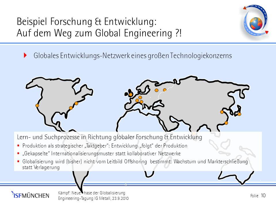 Kämpf: Neue Phase der Globalisierung Engineering-Tagung IG Metall, 23.9.2010 Folie 10 Beispiel Forschung & Entwicklung: Auf dem Weg zum Global Enginee