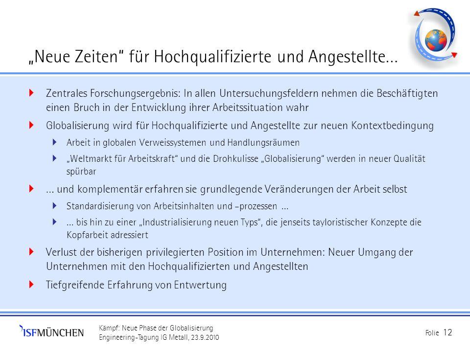 Kämpf: Neue Phase der Globalisierung Engineering-Tagung IG Metall, 23.9.2010 Folie 12 Neue Zeiten für Hochqualifizierte und Angestellte… Zentrales For