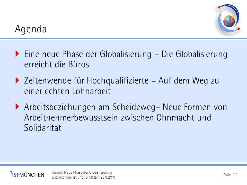 Kämpf: Neue Phase der Globalisierung Engineering-Tagung IG Metall, 23.9.2010 Folie 14 Agenda Eine neue Phase der Globalisierung – Die Globalisierung e