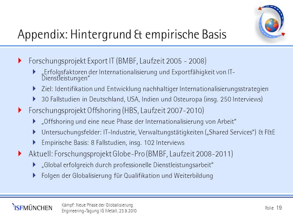Kämpf: Neue Phase der Globalisierung Engineering-Tagung IG Metall, 23.9.2010 Folie 19 Appendix: Hintergrund & empirische Basis Forschungsprojekt Expor