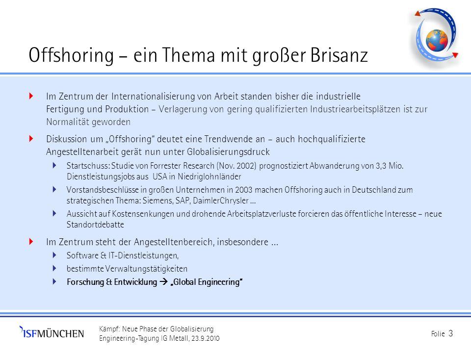 Kämpf: Neue Phase der Globalisierung Engineering-Tagung IG Metall, 23.9.2010 Folie 3 Offshoring – ein Thema mit großer Brisanz Im Zentrum der Internat