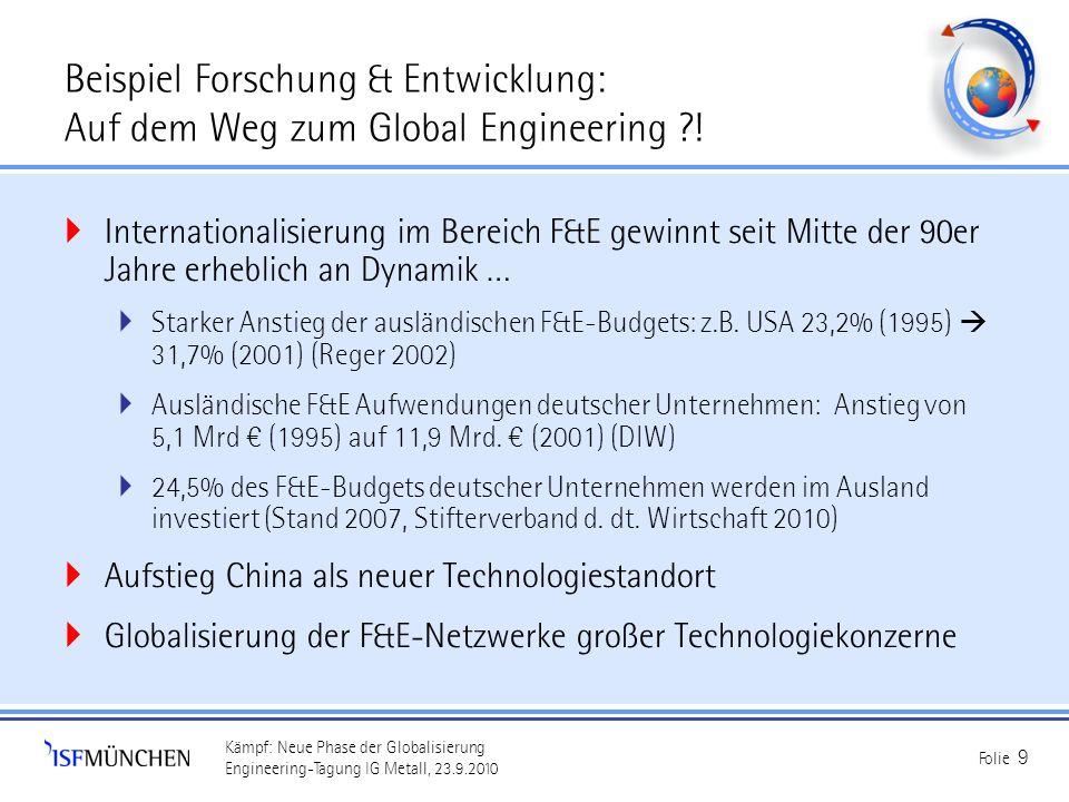 Kämpf: Neue Phase der Globalisierung Engineering-Tagung IG Metall, 23.9.2010 Folie 9 Beispiel Forschung & Entwicklung: Auf dem Weg zum Global Engineer