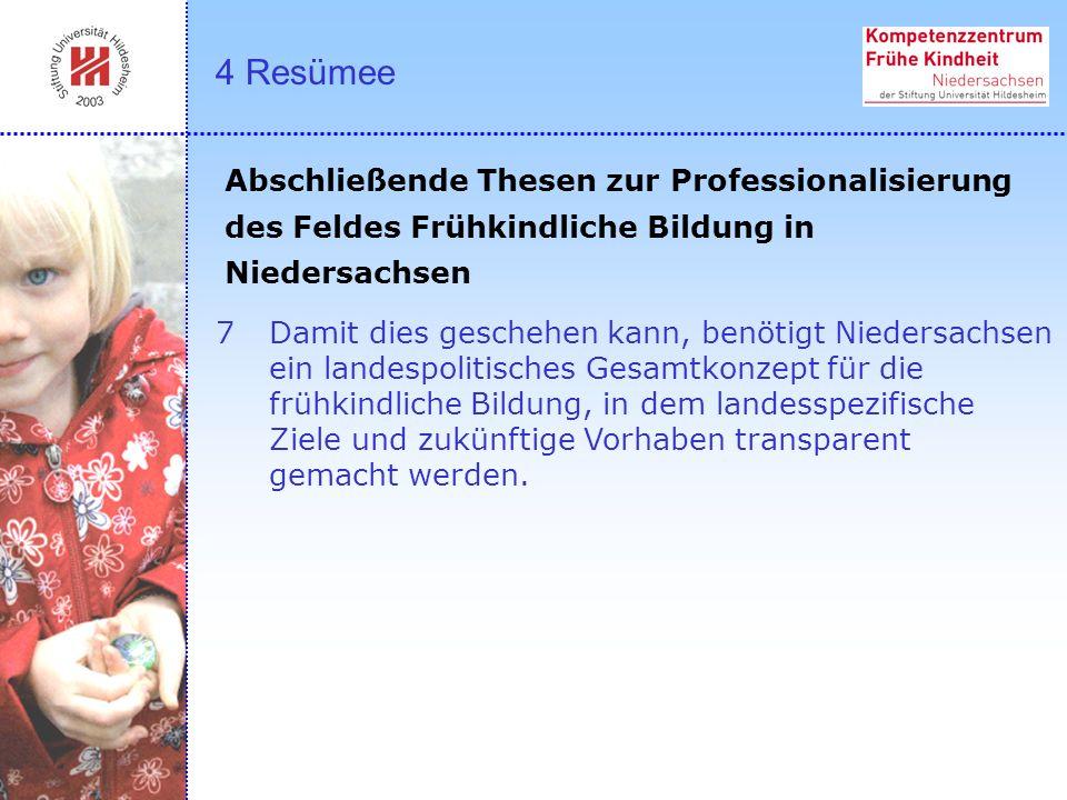 7Damit dies geschehen kann, benötigt Niedersachsen ein landespolitisches Gesamtkonzept für die frühkindliche Bildung, in dem landesspezifische Ziele u